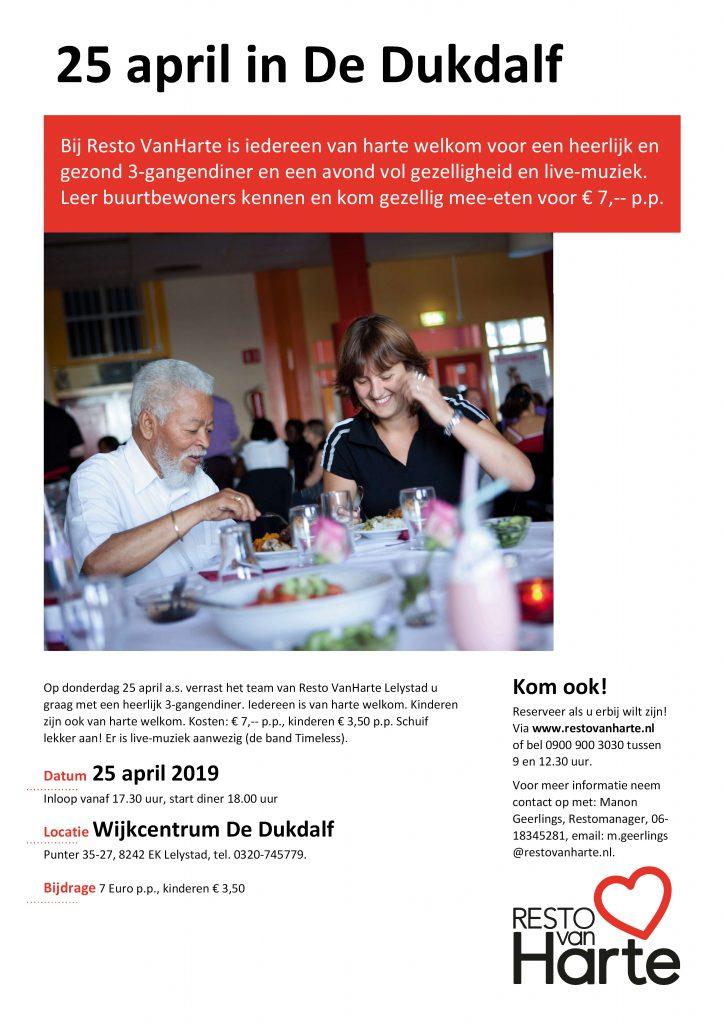 Resto Van Harte organiseert diner @ Wijkcentrum de Dukdalf